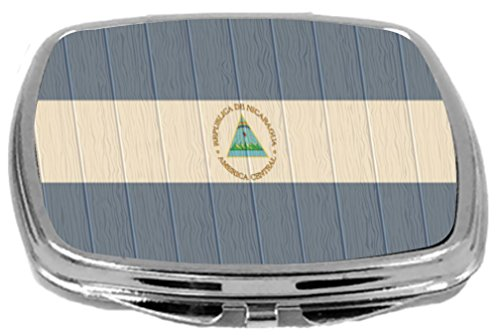 Rikki Knight Compact Mirror on Distressed Wood Design, Nicaragua Flag, 3 Ounce by Rikki Knight