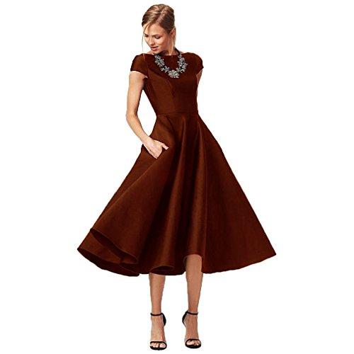 Fashionbride Women s Formal Evening Gown Satin Short Sleeve Tea-Length  Mother of The Bride Dress 6320fa598