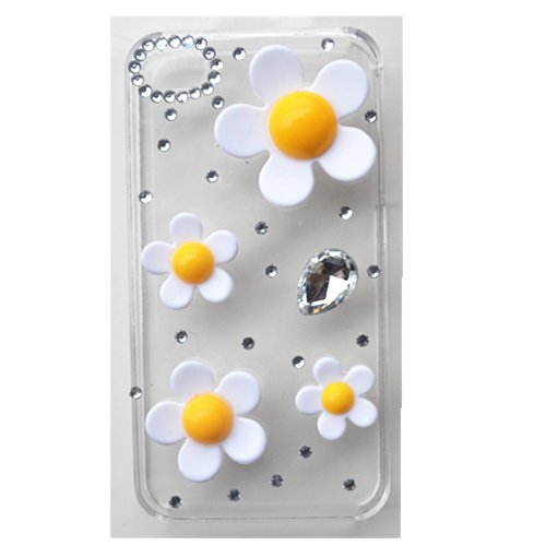 EVTECH(TM) 3D 3d Handmade Bling Lovely Flowers Crystal Case Cover Faceplate for iPhone 5 / 5S T-Mobile Sprint AT&T Verizon(100% Handcrafted)