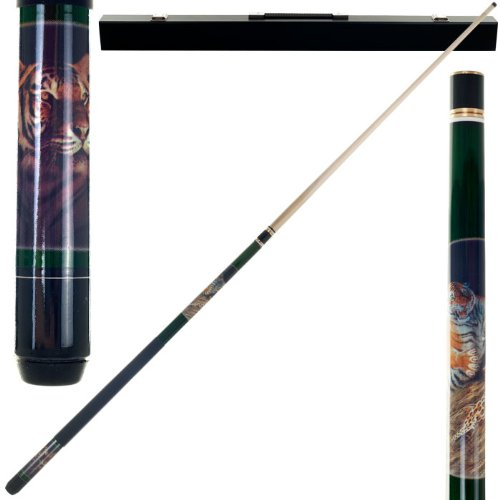 2 Piece Hardwood Bengal Tiger Design Pool Stick Cue - With Carrying Case! by TMG