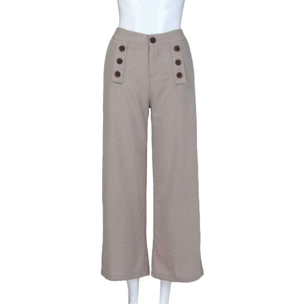 ZHRUI Pantalón Casual de Negocios para Mujer Pantalones con Botones  elásticos Pantalón Ancho Pantalones (Color   Gris b96b798ad537