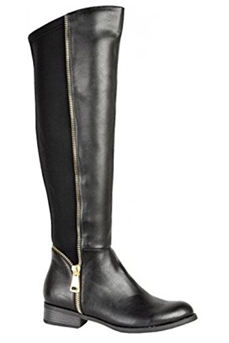 Shoes BOUTIQUE Low High Faux Detail Zip Leather Elastic ® Ladies Boots Heel Gold PU Knee Black FANTASIA Fw86dF