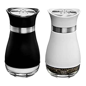 MITBAK Salt and Pepper Shakers (2-Pc. Set) Elegant w/Clear Glass Bottom | Compact Cooking, Kitchen and Dining Room Use | Classic, Refillable Design ...