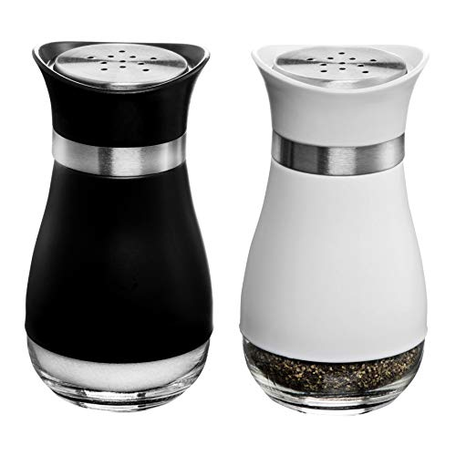 - MITBAK Salt and Pepper Shakers (2-Pc. Set) Elegant w/Clear Glass Bottom | Compact Cooking, Kitchen and Dining Room Use | Classic, Refillable Design (BK/White)
