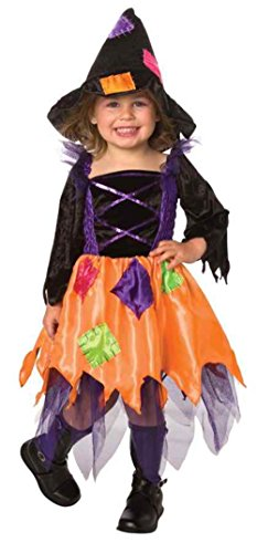 [UHC Girl's Patchwork Witch Toddler Fancy Dress Funny Theme Child Costume, 2T-4T] (Patchwork Witch)