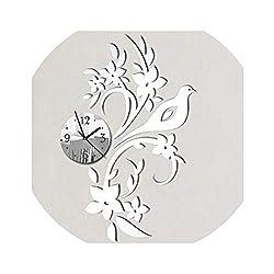 Wall Clock Clocks Reloj De Pared Horloge Modern Design 3D Acrylic Mirror Living Room Needle,Silver