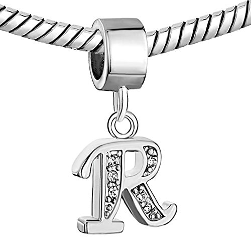Pugster Silver Plated Letter Initial A-Z Dangle Alphabet Crystal Bead Fits Charms Bracelet (Letter R)