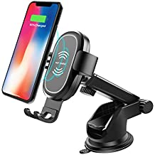 Wireless Car Charger, ABKUL Phone Holder for Car Dashboard Windshield Car Phone Mount Compatible with iPhone Xs Max/XS/XR/X/8Plus/8, Galaxy S9/S9+/S8/S8+/Note9/Note8 and Other Qi Certified Smartphone