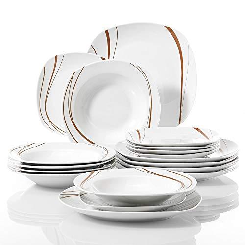 VEWEET - Juego de vajilla cuadrada de porcelana y plato de cerámica con diseño de rayas naranjas, juego de plato y tazón...