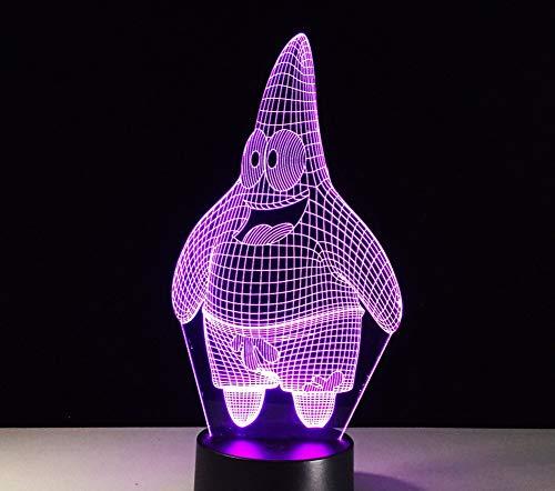 3D Bob Esponja Luz De Noche Acrílico Led7 Color Lámpara De ...