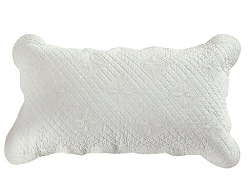 Calla Angel CASPCTKIV_SGDN Sage Garden Luxury Pure Cotton Quilted Pillow Sham, 30