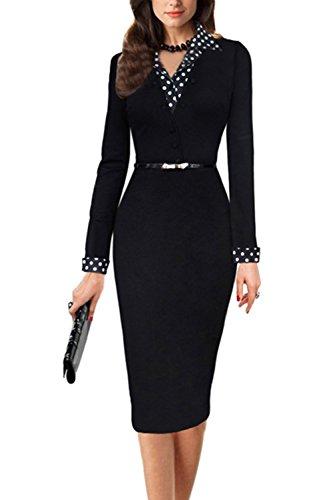 Elegantes Langarm Bodycon OL Kleid mit Gürtel für Damen