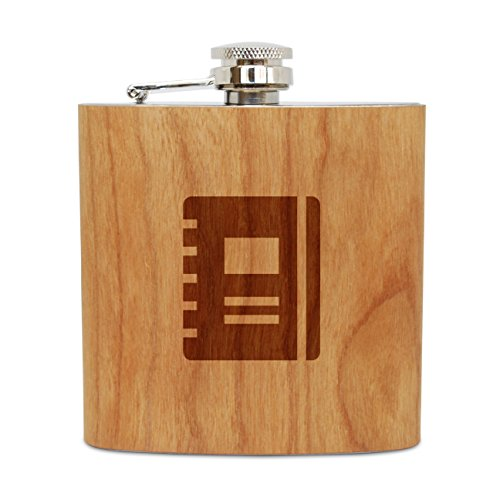 WOODEN ACCESSORIES COMPANY Cherry Wood Flask With Stainless Steel Body - Laser Engraved Flask With Journal Design - 6 Oz Wood Hip Flask Handmade In USA
