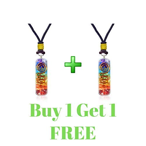 (Set of 2 Orgonite 7 Chakra Energy Generator Emotional Body Purification Pendant Necklace for Stress Relief -Balance Chakra Self Inner Healing- Strengthen Immune System - Heart - Self Confidence)