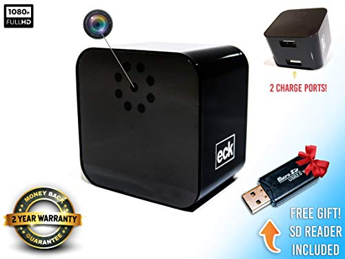 Wireless Hidden Spy Camera | Dual USB Smart Phone Charger | Mini Security Camera 1080P | SD Card Reader Included | Motion Detection | No Battery Needed | Up To 32Gb Storage | Home or Office | NannyCam