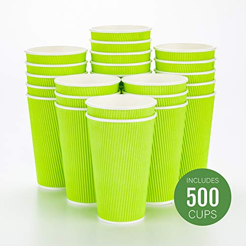 (Disposable Paper Hot Cups - 500ct - Hot Beverage Cups, Paper Tea Cup - 16 oz - Eco Green - Ripple Wall, No Need For Sleeves - Insulated - Wholesale - Takeout Coffee Cup - Restaurantware)