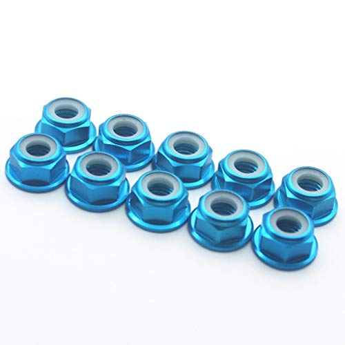 Flanged Lock Nut Aluminum (20 Pcs M6 Nuts Flanged Nylon Lock Nut Nylock Self-Lock Aluminum Nuts (Blue))