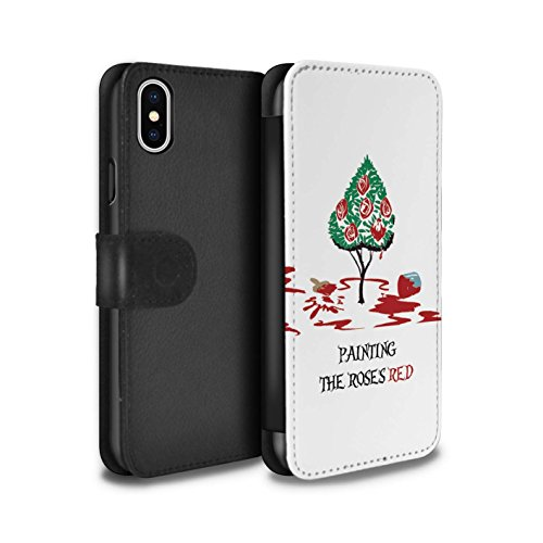 STUFF4 PU Leather Wallet Flip Case/Cover for Apple iPhone X/10 / Queen of Hearts / Painting Design / Fantasy Wonderland Art Collection
