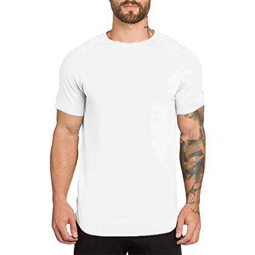 QueenMM 2019 Men's Gyms Workout Short Sleeve T-Shirt Comfort Cotton Casual Top Blouse White ()
