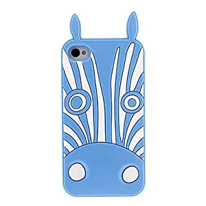 get White Zebra Pattern Silicagel Soft Case with High Definition Screen Protecter for iPhone 4/4S , Red