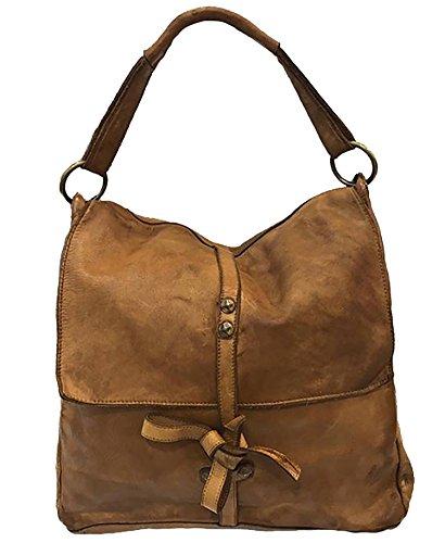 Damen Tasche Juno Paul.hide Beutel, Handtasche, Schultertasche Vintage Leder, Gewaschenes Leder, Made In Italy Handgefertigt Umhängetasche Vintage Used-Look Braun 33x30x12 cm (B x H x T)