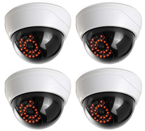 Fake Security Camera (4 Pack) CCTV Fake Dome Camera with Realistic Look Recording Red LED Light Indoor and Outdoor Use, for Homes & Business- by Armo