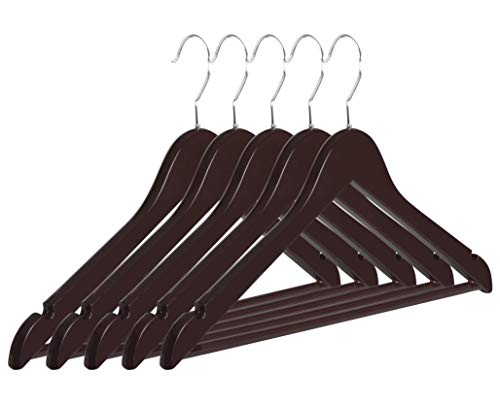 NAKIOR Premium ABS Plastic Suit Hangers {Set of 5} Strong Clothes Hanger with Non Slip Pants Bar   Heavy Duty 1-Piece Construction   Break Resistant Clothing Hangers for Dress, Blouse, Jacket & More ()