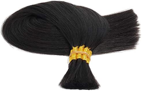 人毛 エクステ 髪 最高級人毛 100% 54cm ナチュラルブラック BULK ヘアーエクステンション 編み込み 毛束タイプ レミーヘア(100g)