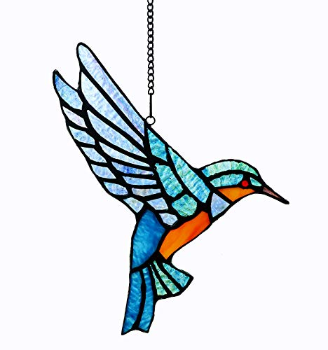 (Alivagar Stained Glass Bluebird Window Hanging Sun Catcher Ornament Bird, 9