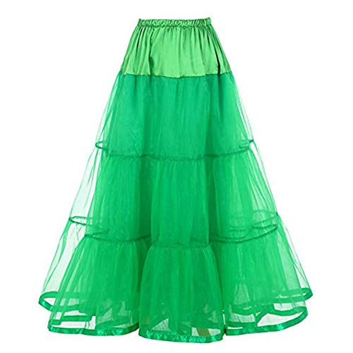 Women's Ankle Length Petticoats Wedding Slips Crinoline Underskirt for Long Dress (Green) -