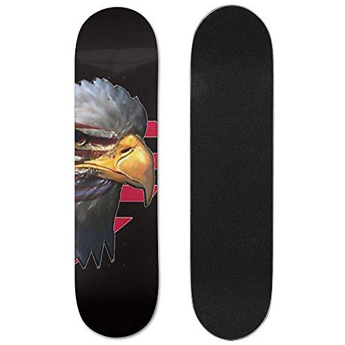 HXXUAN Eagle Head In Heart Us Flag Skateboard 31 Inch Funny Maple Wood Double Kick Concave Graphic Beginner Skate Board (Heart Eagle Head)