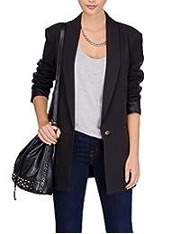 HaoDuoYi Womens Casual Slim Lapel Neck Single Button Long Sleeve Blazer