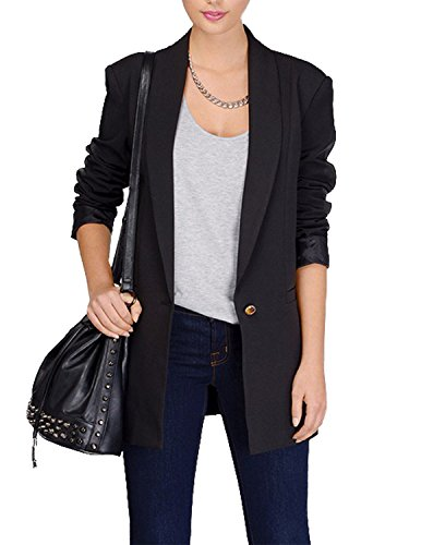 HaoDuoYi Womens Casual Slim Lapel Neck Single Button Long Sleeve Blazer(L,Black)