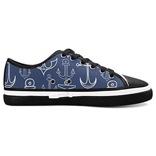 D-Story Custom Navy Anchor Women's Nonslip Canvas Shoes Fashion Sneaker