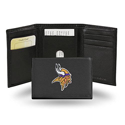 Rico Industries NFL Minnesota Vikings Embroidered Leather Trifold Wallet