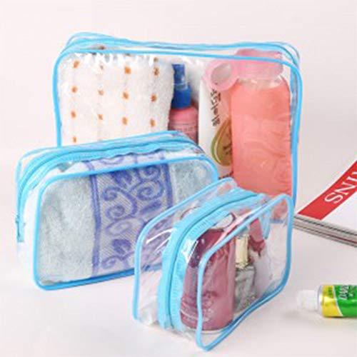 (Leoie 1PC Thicken Cosmetic Bag Women Transparent Clear Zipper Makeup Bag Organizer Bath Wash Make Up Tote Handbag Transparent Blue S)