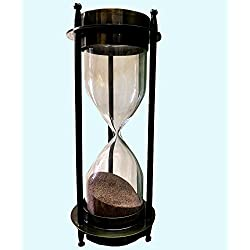 Antiques World Personalized Antiquated Nautical Maritime Heavy Brass Home Office Décor Sand Clock Timer Hourglass with Compass AWUSAST 021