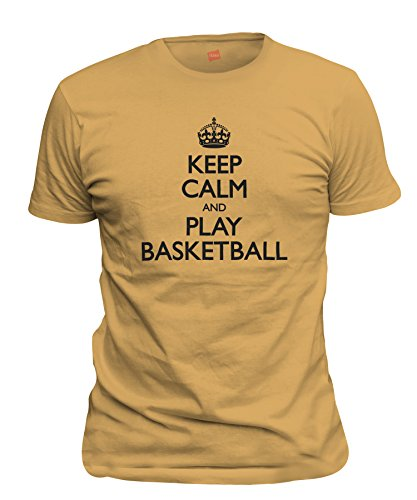 ShirtLoco Men's Keep Calm And Play Basketball T-Shirt, Gold Nugget Medium