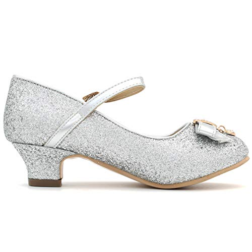 909bd73450cecf Girl  s Glitter Sparkling Dress Shoes Low Medium Heel Pumps Bow Mary Jane  Pageant