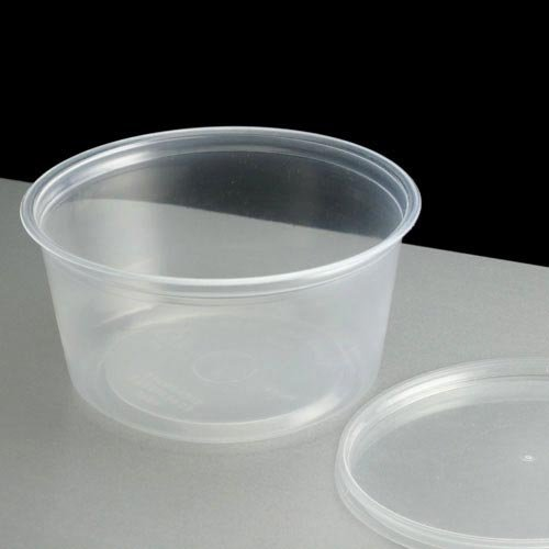 Thali Outlet - 500 x Round 4oz Clear Plastic Deli Sauce Chutney Food Containers Takeaway - 70mm(D) x 35mm(H) by Thali Outlet - Leeds Outlet