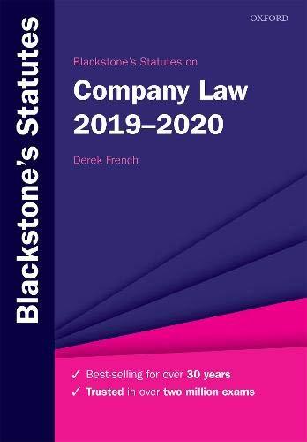 Blackstone's Statutes On Company Law 2019 2020