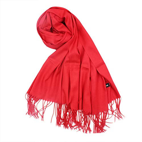 Soft Cashmere Blanket Scarf with Tassel Solid Color Warm Shawl Wrap for Women ()