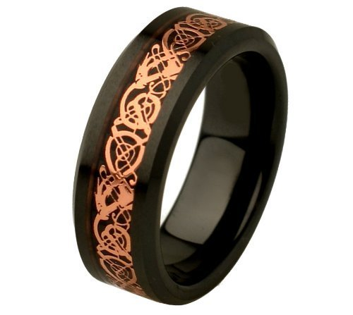Free Engraving 8mm Black Ceramic High Polish Rose Gold Plated Celtic Dragon Design Inlay Comfort Fit Wedding Band Engagement Ring for Men & Women Size 14