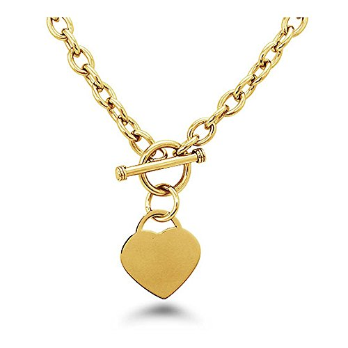 West Coast Jewelry Gold Plated Stainless Steel Heart Tag Toggle Necklace 18 Inches ()