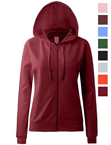 Regna X Womens Long Sleeve Comfy Loose Cotton Full Zip Hoodie Red 2XL (Zip Premium Hoodie Full)
