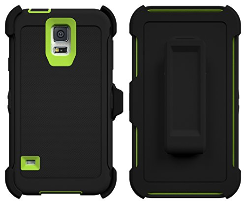 hBox® [Armor Series] [Shock Proof] [Black | Lime] for Samsung Galaxy S5 Case [Built in Screen Protector] [With Holster & Belt Clip] [Fits OtterBox Defender Series Belt Clip] ()