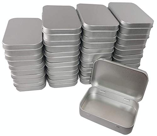 - 24 Pack! Tin Boxes - Silver - Hinged Rectangular Storage Boxes - Great for Crafts, Gifts, Candles, Soap, and Other Uses - 3.75 by 2.45 by 0.8 inches (Same Size As an Empty Altoids Tin) (Silver)