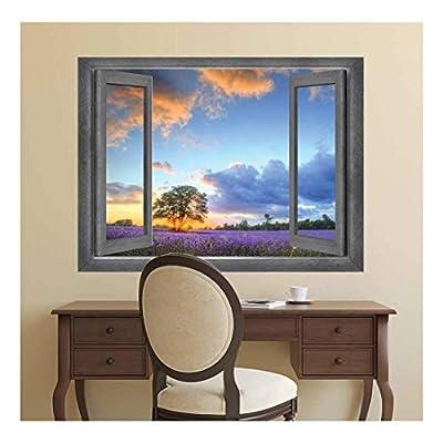 Handsome Visual, Premium Product, Open Window Creative Wall Decor Beautiful Purple Garden at Sunset Wall Mural