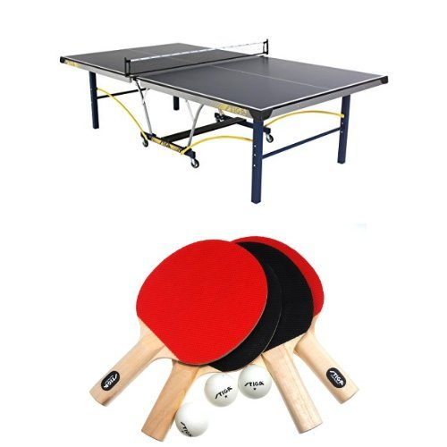 STIGA Triumph Table Tennis Table Bundle with Rackets and Balls, 4-Player Set