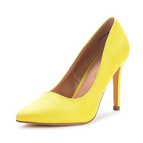 DREAM PAIRS Women's Christian-New Yellow Suede High Heel Pump Shoes - 8 M US (Best High Heels 2019)